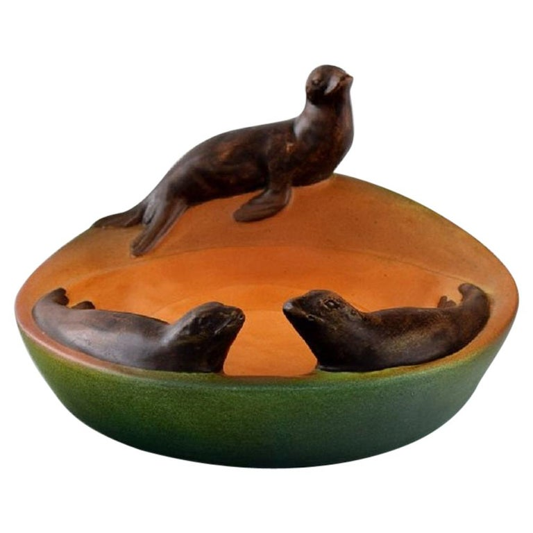 Ipsen's, Denmark, Dish with Sea Lions in Hand Painted Glazed Ceramics, 1930s For Sale