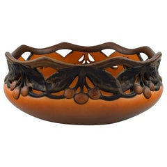 Ipsen's, Denmark, Large Pierced Bowl with Leaves and Berries, circa 1920s