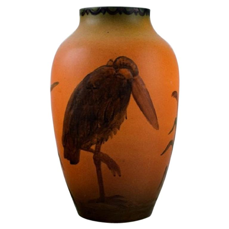 Ipsen's, Denmark, Rare Vase with Marabou in Hand Painted Glazed Ceramics