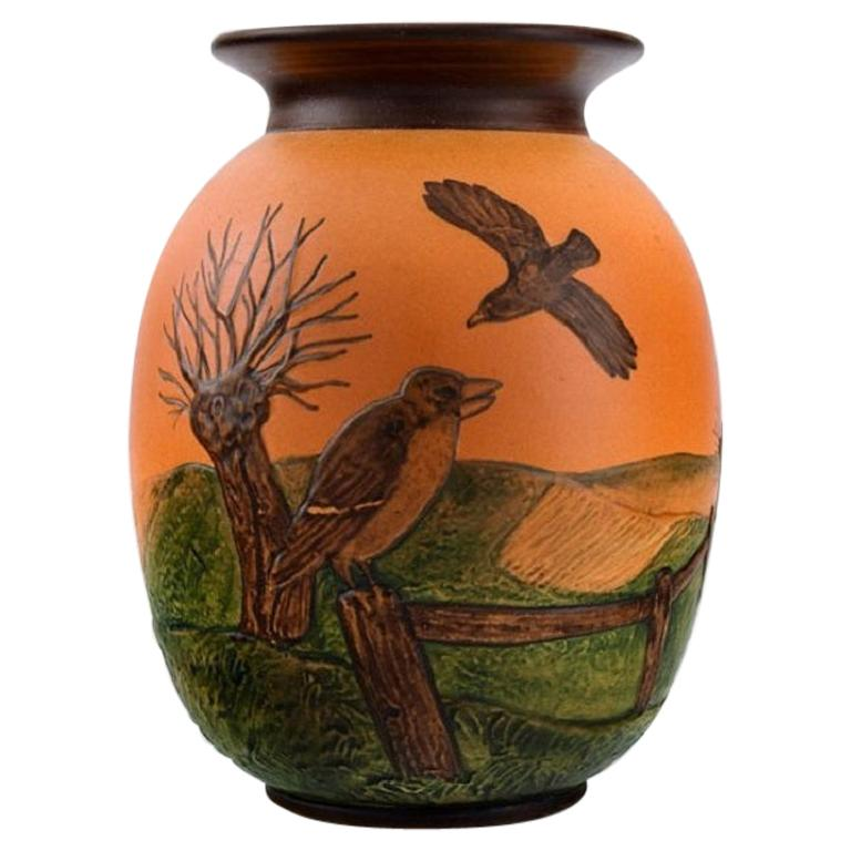 Ipsen's, Denmark, Vase in Hand-Painted Glazed Ceramics, Landscape with Birds