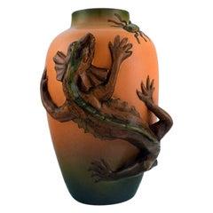 Ipsen's, Denmark, Vase in Hand Painted Glazed Ceramics with Lizard and Beetle