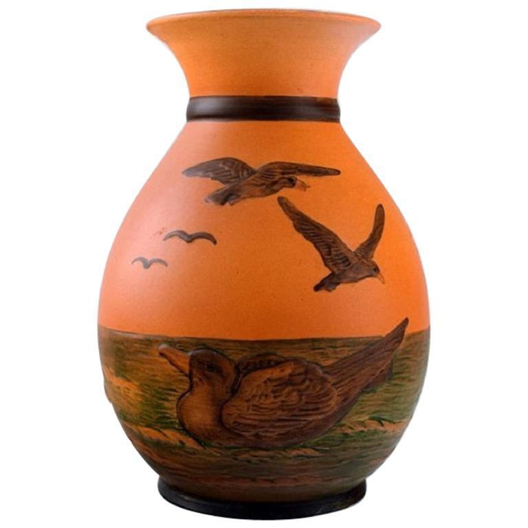 Ipsen's, Denmark, Vase with Seagulls in Hand Painted Glazed Ceramics, circa 1920