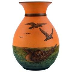 Ipsen's, Denmark, Vase with Seagulls in Hand Painted Glazed Ceramics