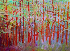 """Forest Series - Red"" - - Romantic, American Monet, Landscape, Abstract"