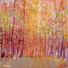 """Forest Series, Touch of Spring"" - Romantic, American Monet, Landscape, Abstract"