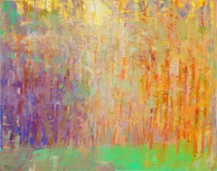 """Forest Series -- Gold Hour"" --  Romantic, American Monet, Landscape, Abstract"