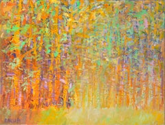 """Forest Series, Golden"" -- Romantic, American Monet, Landscape, Abstract"