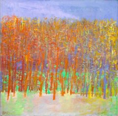 """Forest Series, Orange"" -- Romantic, American Monet, Landscape, Abstract"