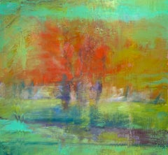 """Orange & Red Trees"" - - Romantic, American Monet, Landscape, Abstract"