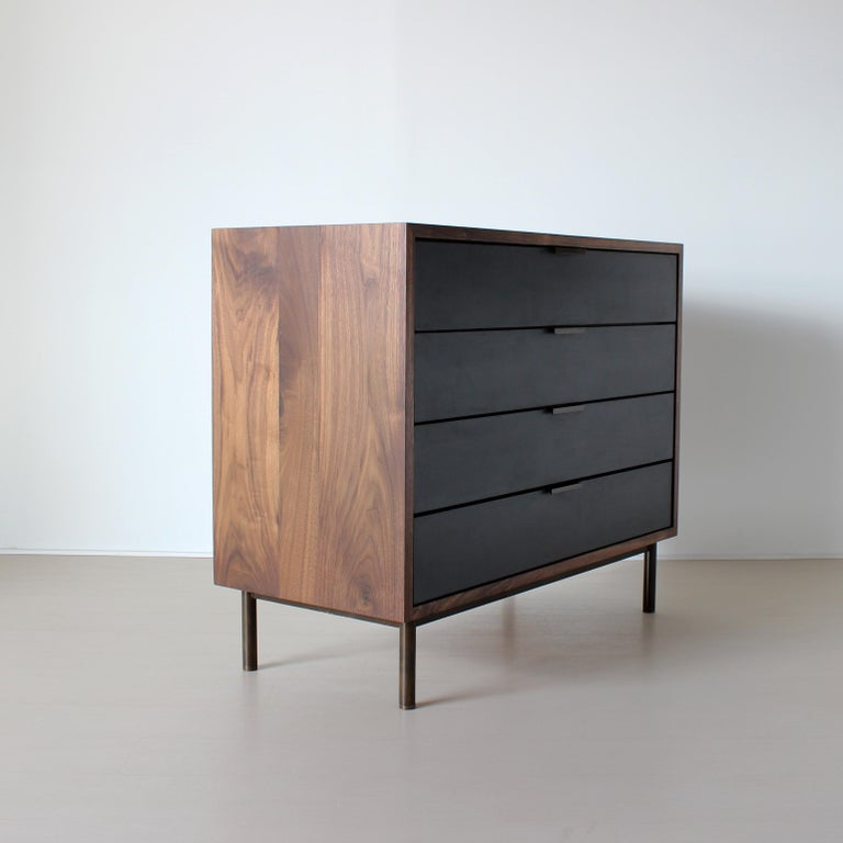 Oiled Ira Modern Concrete, Cement and Walnut Dresser For Sale