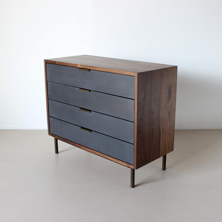 Contemporary Ira Modern Concrete, Cement and Walnut Dresser For Sale