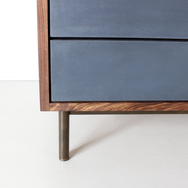 Ira Modern Concrete, Cement and Walnut Dresser For Sale 2