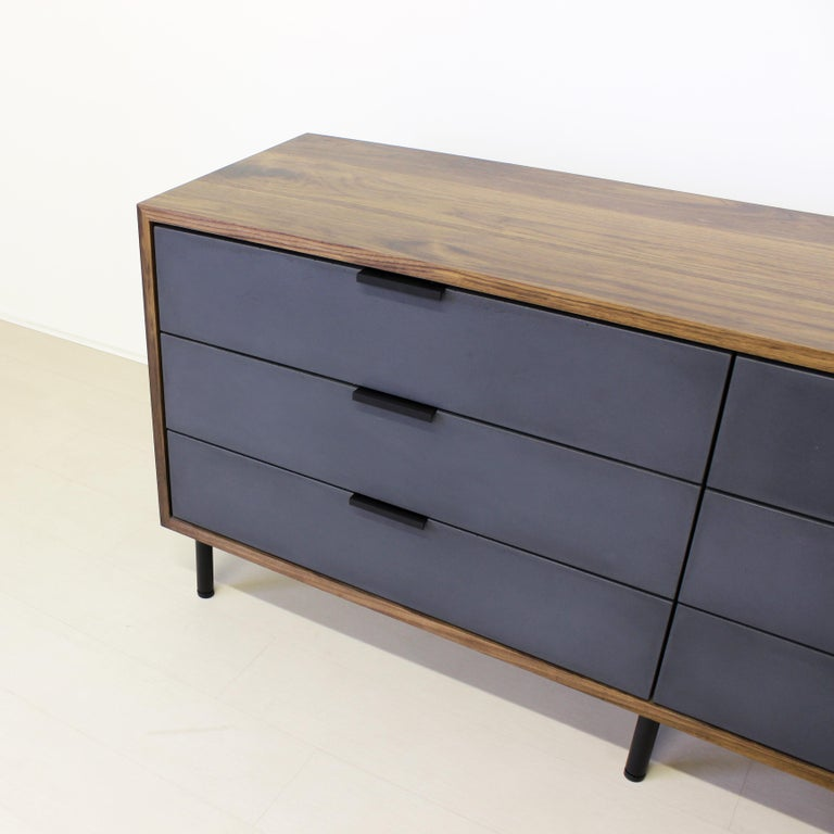 Bronzed Ira Modern Concrete, Cement and Wood Dresser For Sale