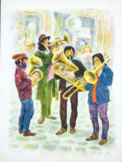 Street Musicians by Ira Moskowitz original lithograph