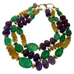 Iradj Moini Amethyst, Citrine, Fluorite and Gold-Plated Textured Bead Necklace