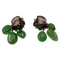 Iradj Moini Amethyst, Fluorite and Crystal Ear Clips