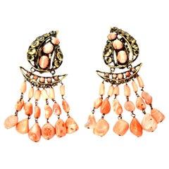 Iradj Moini Angel Coral, Citrine & Rhinestone Dangle Clip On Earrings Vintage