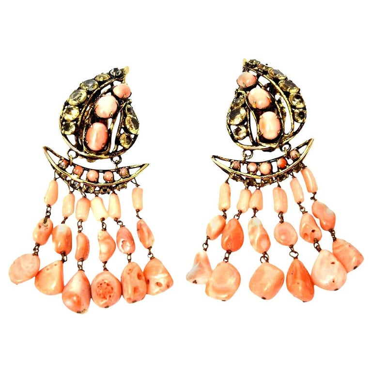 Iradj Moini Angel Coral, Citrine & Rhinestone Dangle Clip on Earrings Vintage For Sale