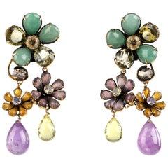 IRADJ MOINI c. 2000's Gold-Tone Floral Semi-Precious Stone Drop Clip On Earrings