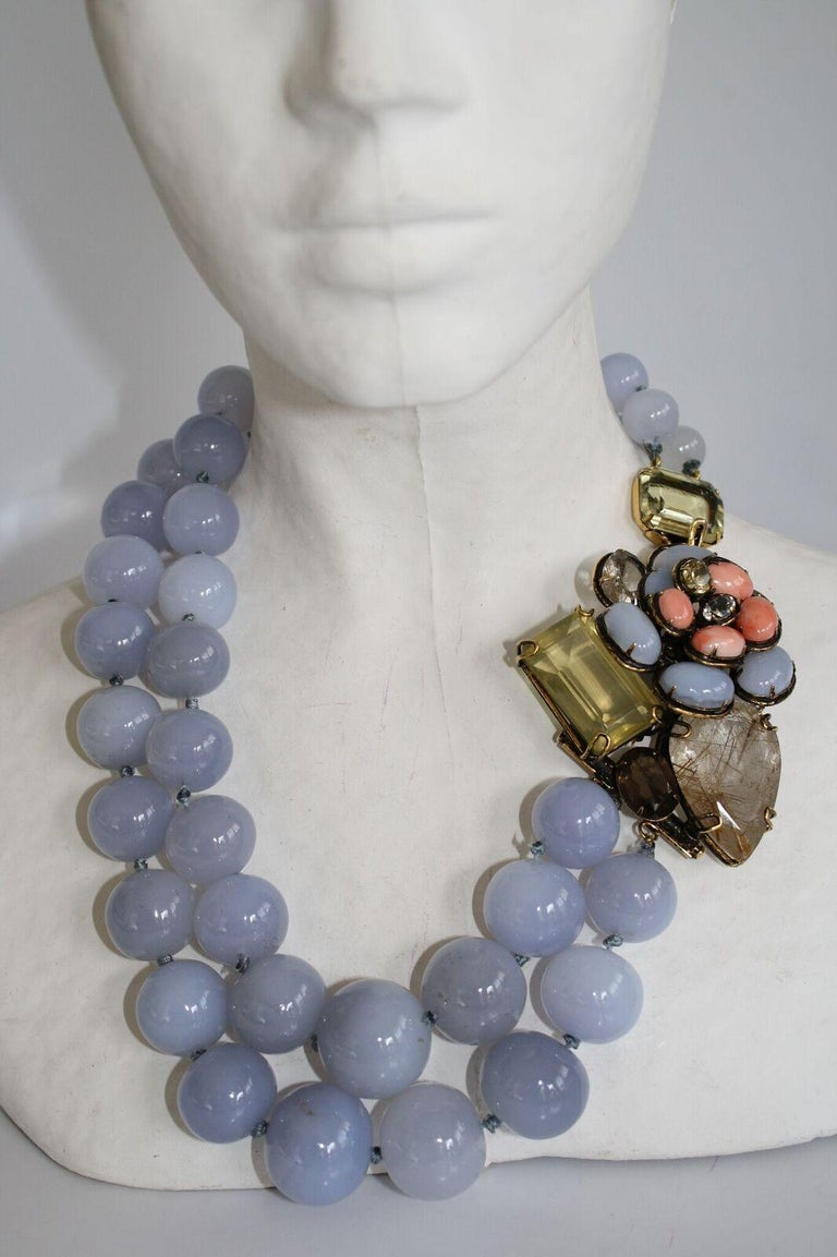 Women's Iradj Moini Calcedony and Semi-Precious Double Strand Floral Necklace For Sale
