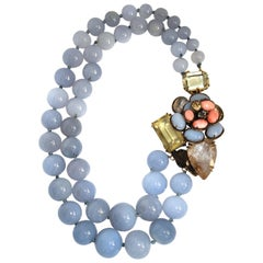 Iradj Moini Calcedony and Semi-Precious Double Strand Floral Necklace