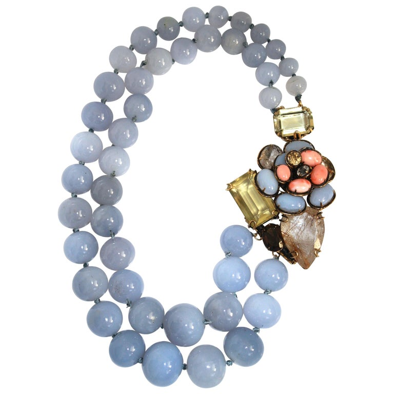 Iradj Moini Calcedony and Semi-Precious Double Strand Floral Necklace For Sale