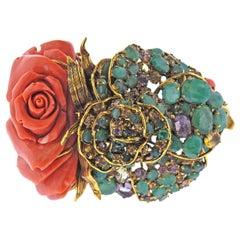 Iradj Moini Carved Coral Emerald Amethyst Citrine Bracelet