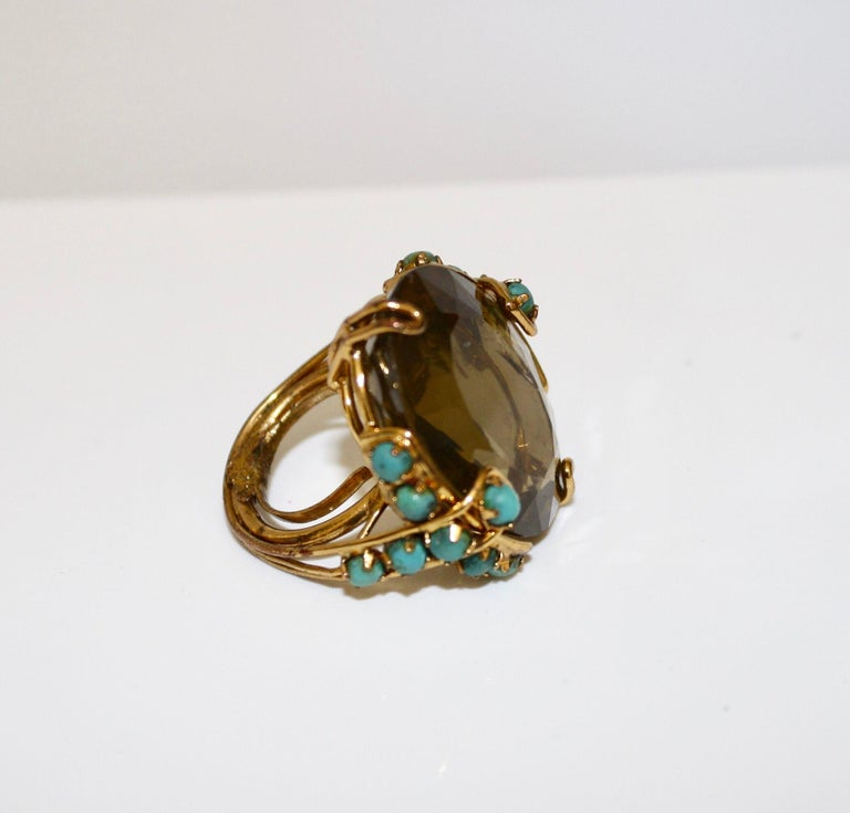 Iradj Moini Citrine and Turquoise Adjustable Cocktail Ring In Excellent Condition For Sale In Virginia Beach, VA