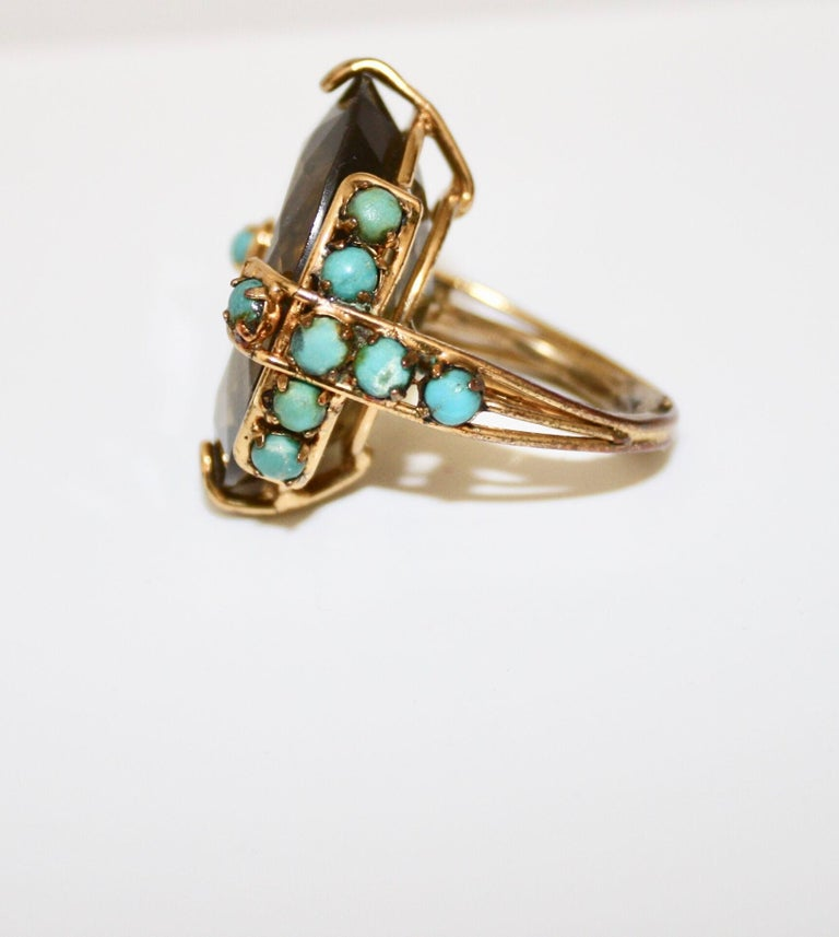 Women's Iradj Moini Citrine and Turquoise Adjustable Cocktail Ring For Sale