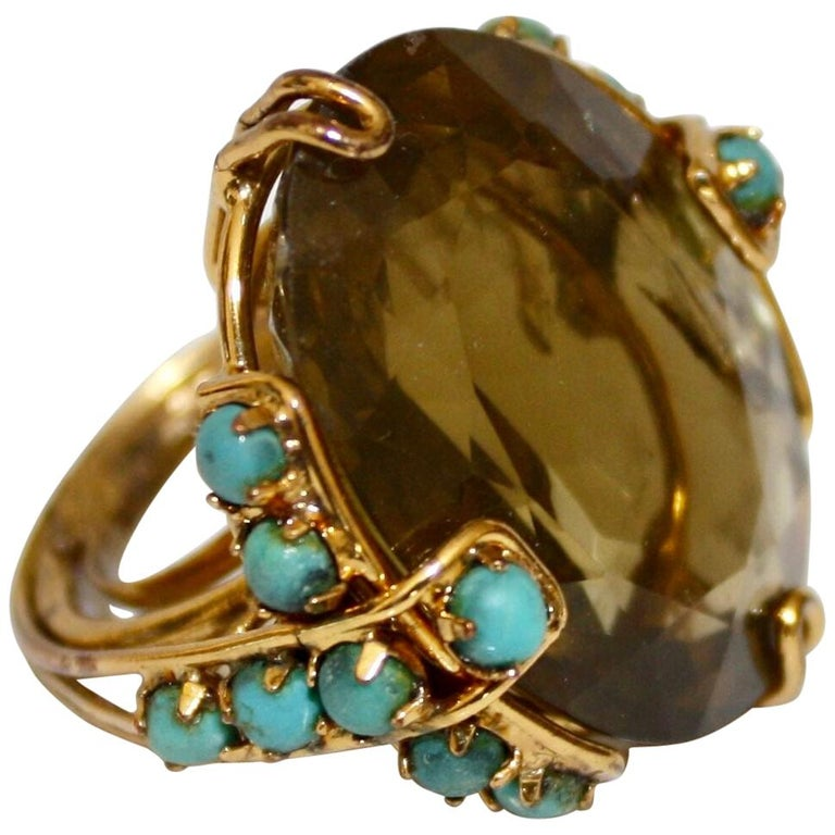 Iradj Moini Citrine and Turquoise Adjustable Cocktail Ring For Sale