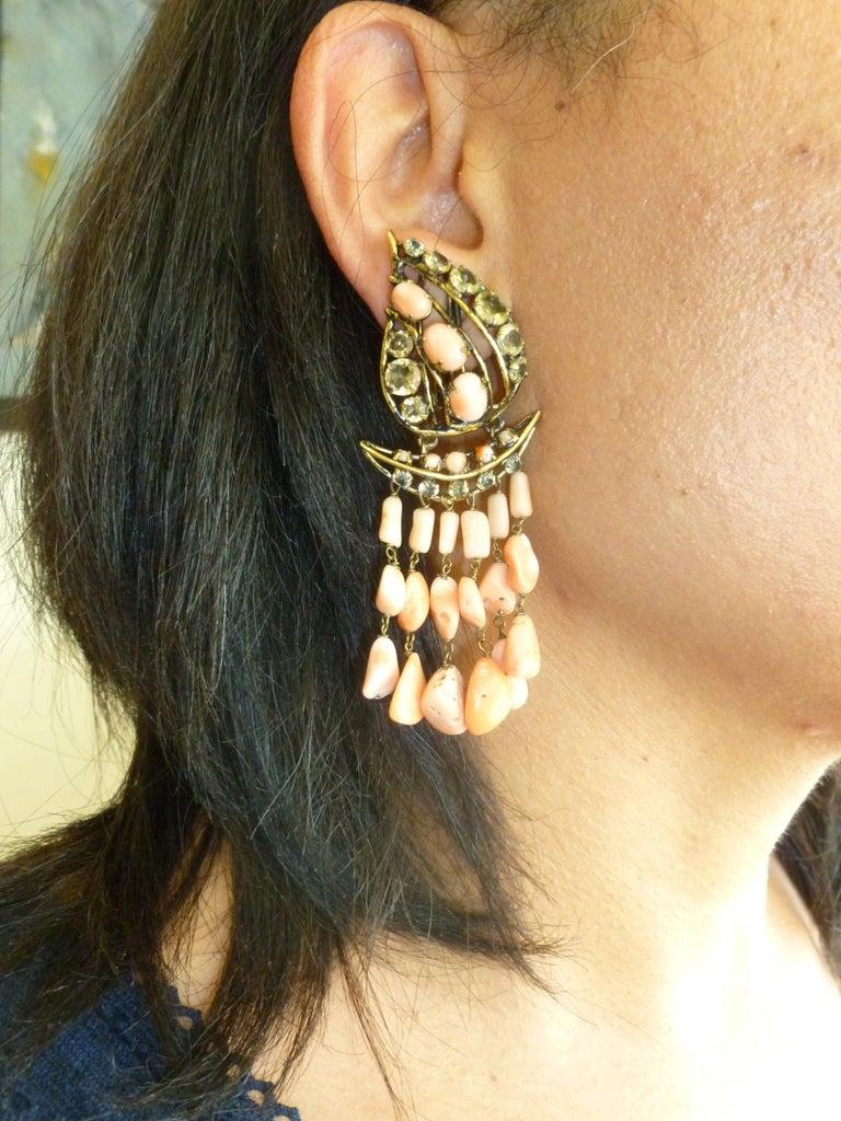 Iradj Moini Angel Coral, Citrine & Rhinestone Dangle Clip on Earrings Vintage For Sale 5