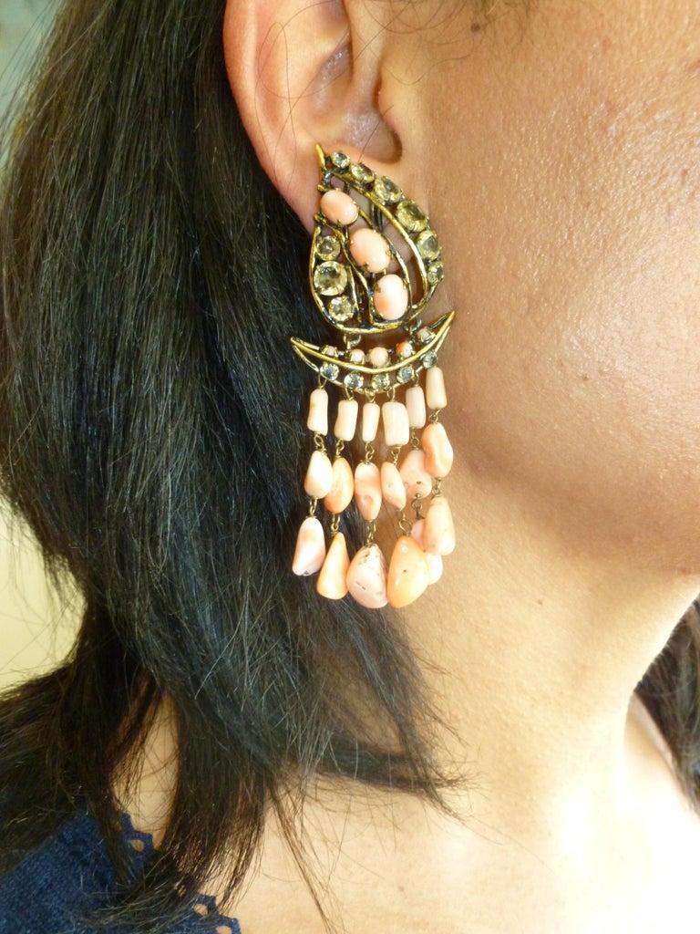 Iradj Moini Angel Coral, Citrine & Rhinestone Dangle Clip on Earrings Vintage For Sale 6