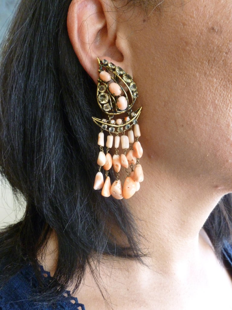 Iradj Moini Angel Coral, Citrine & Rhinestone Dangle Clip on Earrings Vintage For Sale 7