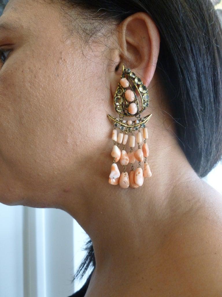 Iradj Moini Angel Coral, Citrine & Rhinestone Dangle Clip on Earrings Vintage For Sale 8