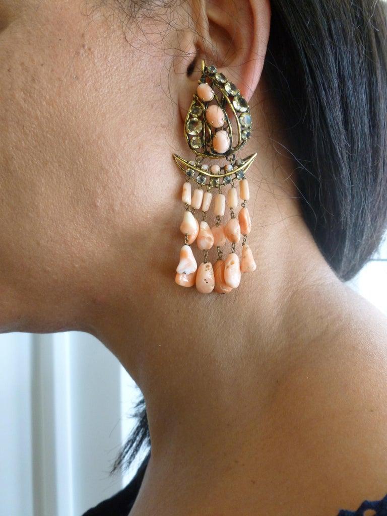 Iradj Moini Angel Coral, Citrine & Rhinestone Dangle Clip on Earrings Vintage For Sale 9