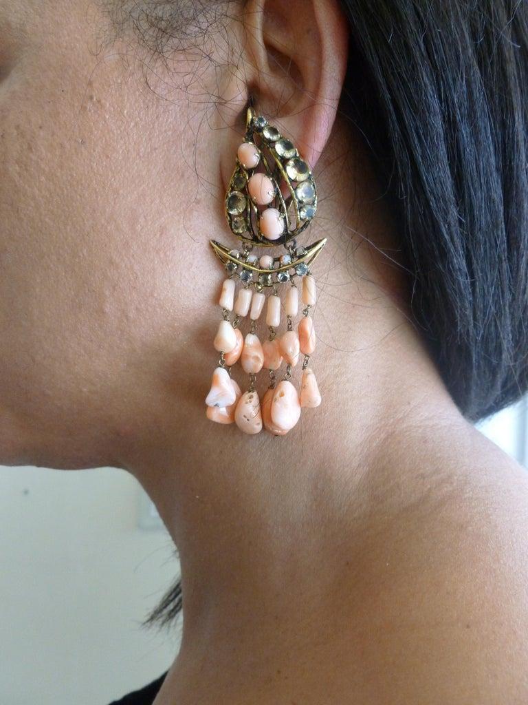 Iradj Moini Angel Coral, Citrine & Rhinestone Dangle Clip on Earrings Vintage For Sale 10