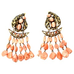 Iradj Moini Coral, Citrine & Rhinestone Dangle Clip On Earrings Vintage