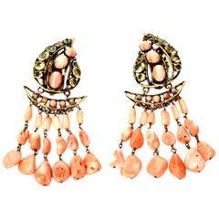 Iradj Moini Coral, Citrine & Rhinestone Dangle Clip On Earrings Vintage