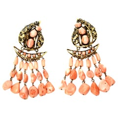 Iradj Moini Coral, Citrine & Rhinestone Dangle Earrings Vintage