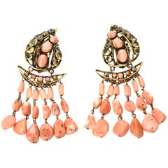 Iradj Moini Coral, Citrine & Rhinestone Dangle Earrings Vintage Signed