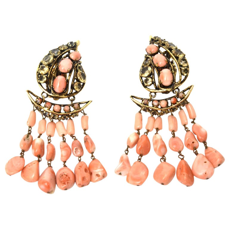 Iradj Moini Coral, Citrine & Rhinestone Dangle Earrings Vintage Signed For Sale