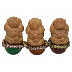Iradj Moini Hear-No-Evil, See-No-Evil, Speak-No-Evil Monkey Brooch Set