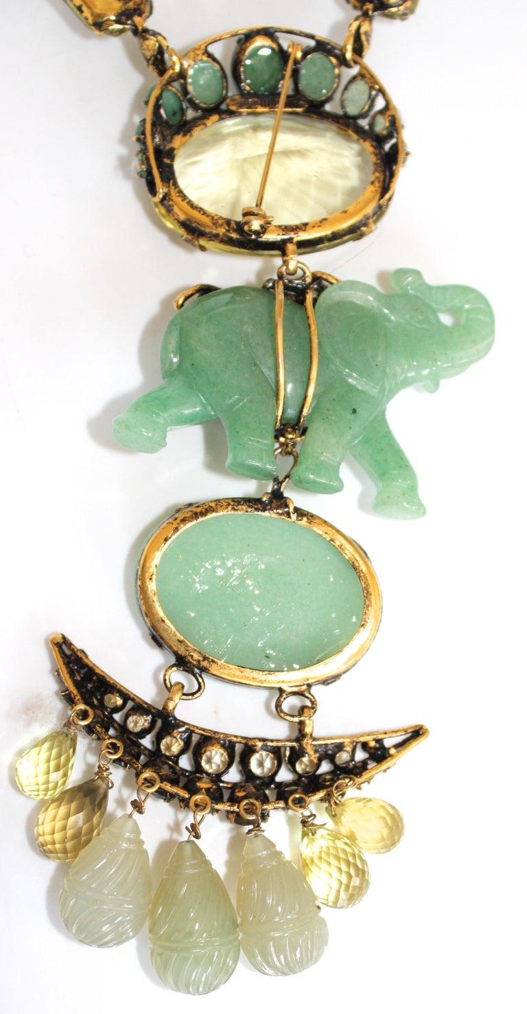 Iradj Moini Jade and Semi-Precious Elephant Drop Necklace In Excellent Condition For Sale In Virginia Beach, VA