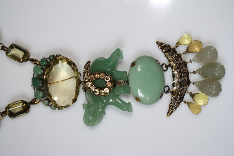 Women's Iradj Moini Jade and Semi-Precious Elephant Drop Necklace For Sale
