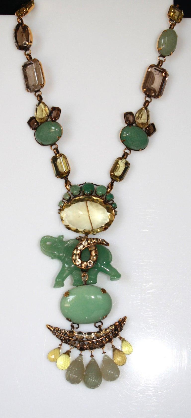 Iradj Moini Jade and Semi-Precious Elephant Drop Necklace For Sale 1