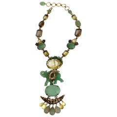 Iradj Moini Jade and Semi-Precious Elephant Drop Necklace