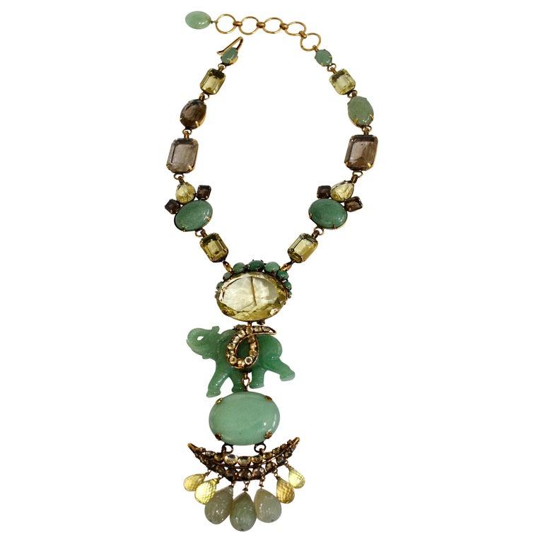 Iradj Moini Jade and Semi-Precious Elephant Drop Necklace For Sale