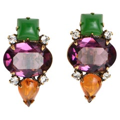 Iradj Moini Jewel Toned Rhinestone and Glass Clip On Earrings
