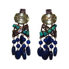 Iradj Moini Lapis, Amethyste, Lemon Quartz and Turquoise Clip Earrings