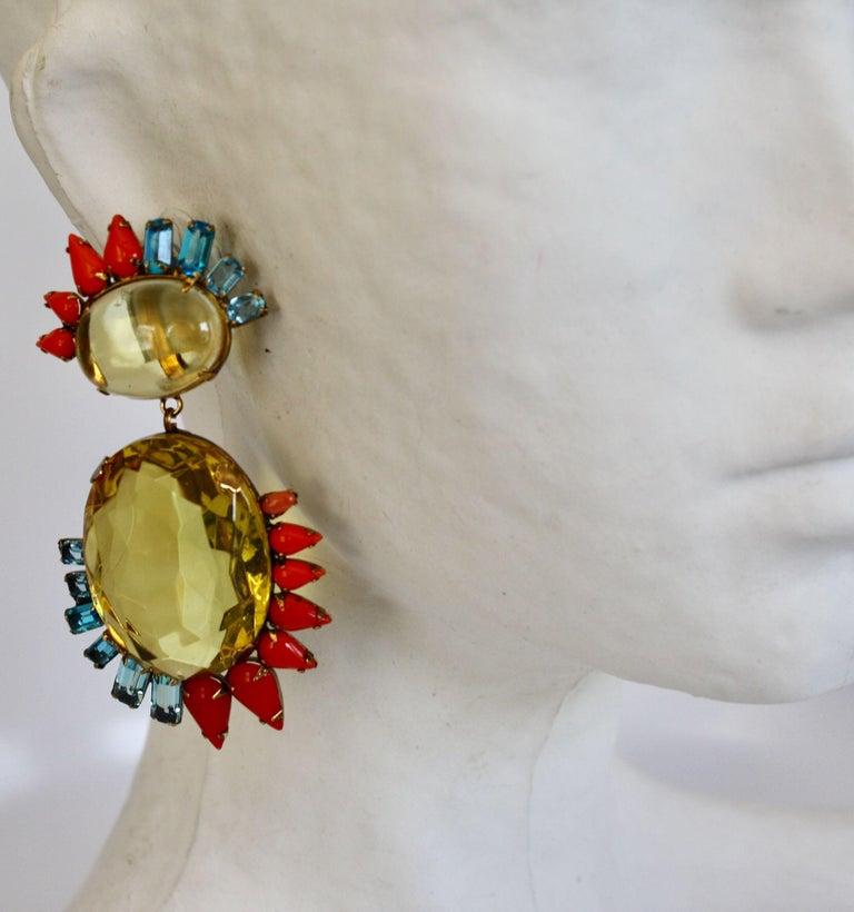Iradj Moini lemon quartz, aqua crystal, and faux coral clip earrings.